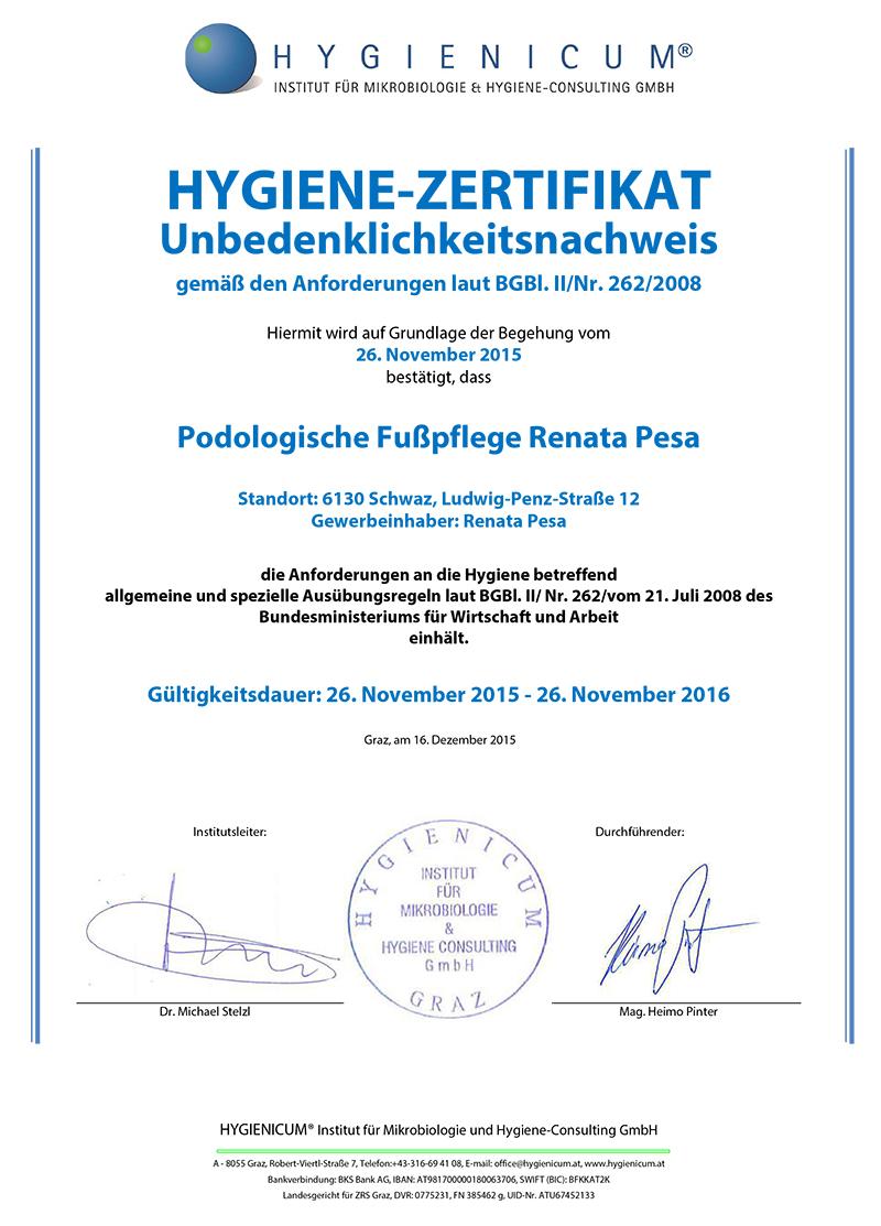 hygiene zertifikat podologische fusspflege renata pesa schwaz